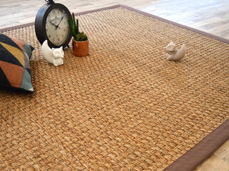 tapis jonc de montagne anapurna naturel ganse coton brun bourges. Black Bedroom Furniture Sets. Home Design Ideas