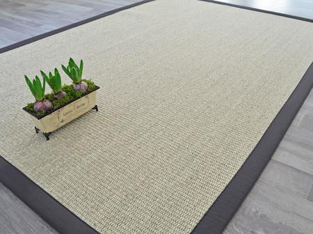 tapis sisal quintana blanchi ganse coton anthracite ref 118196 bourges. Black Bedroom Furniture Sets. Home Design Ideas