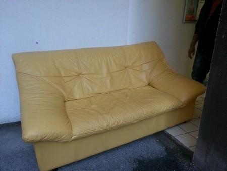 canap cuir jaune ref 54787 bourges. Black Bedroom Furniture Sets. Home Design Ideas