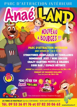 Sp cial loisirs ana land bourges parc d 39 attraction for Parc interieur pour enfant