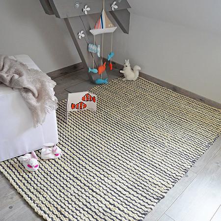 tapis rivage jute et laine bleu gris ou noir ref 95596 bourges. Black Bedroom Furniture Sets. Home Design Ideas