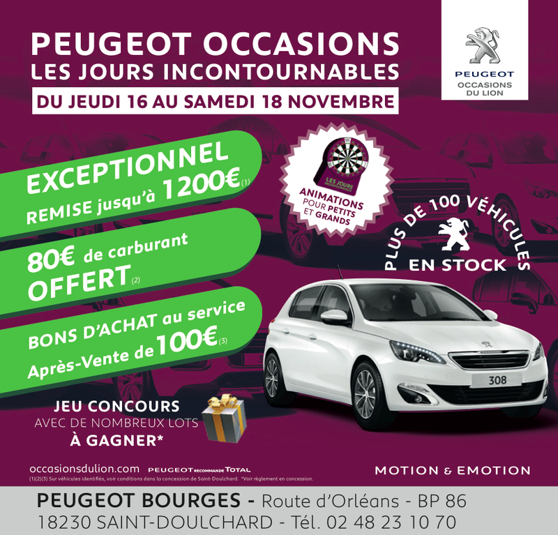 3 jours incontournables peugeot occasions chez corre automobiles 15 11 2017 infoptimum. Black Bedroom Furniture Sets. Home Design Ideas