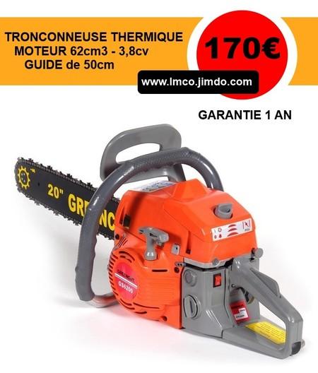 tronconneuse thermique 62cc 3 8cv guide de 50cm - ref 55845