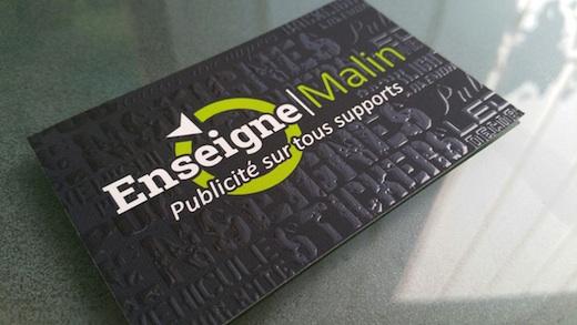 Nouveau Chez ENSEIGNE MALIN A Bourges Cartes De Visites En Relief Grace Au Vernis 3D